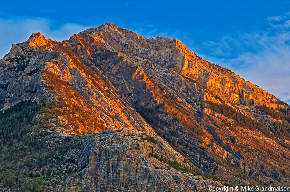 Peak of the Canadian Rocky Mountains at sunrise, Waterton Lakes  National Park, Alberta, Canada