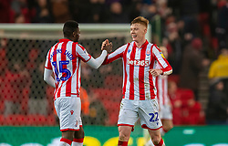 STOKE-ON-TRENT, ENGLAND - Saturday, January 25, 2020: Stoke City's goal-scorer Sam Clucas (R) celebrates with team-mate Bruno Martins Indi at the final whistle during the Football League Championship match between Stoke City FC and Swansea City FC at the Britannia Stadium. Stoke City won 2-0. (Pic by David Rawcliffe/Propaganda)