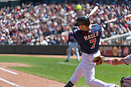 Joe Mauer #7 of the Minnesota Twins bats against the Baltimore Orioles on May 12, 2013 at Target Field in Minneapolis, Minnesota.  The Orioles defeated the Twins 6 to 0.  Photo: Ben Krause