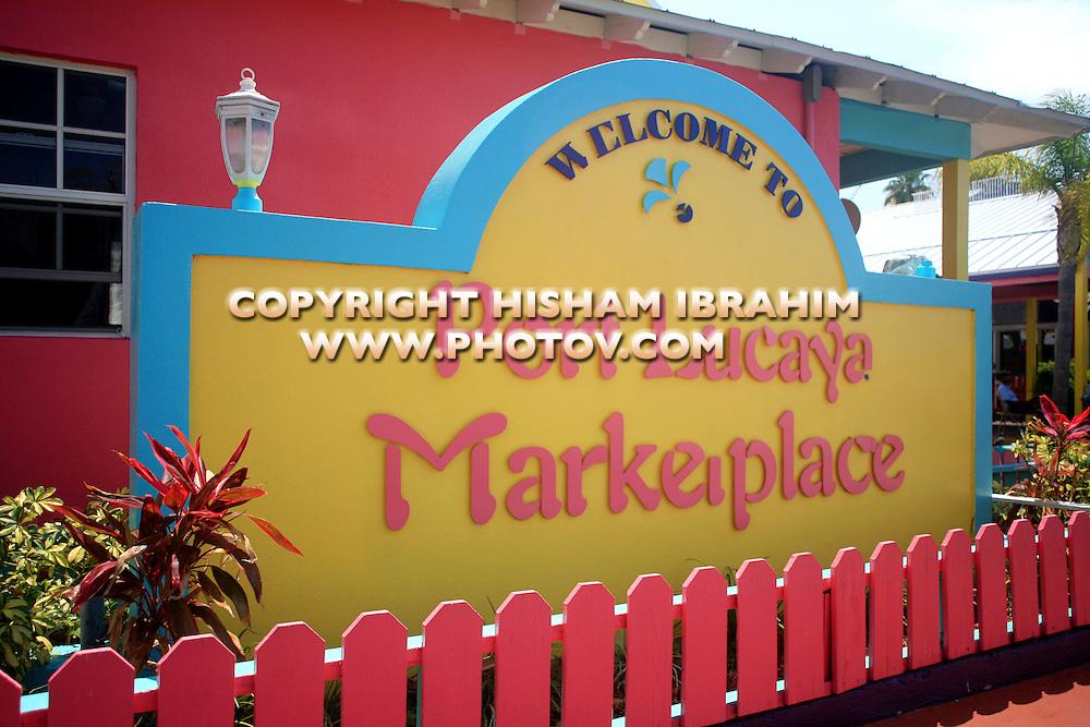 Port Lucaya Marketplace welcome sign - Freeport, Bahamas