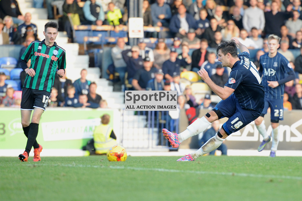 Southends Ryan Leonard scores to put his side 2-0 up during the Southend v Rochdale game in Sky Bet League 1 on the 31st October 2015