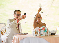 Jen and Tony's Wedding Day.  Toasts for the Bride and Groom.  York, Maine.  ©2015 Karen Bobotas Photographer