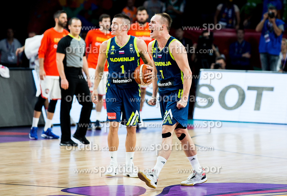 Matic Rebec of Slovenia and Klemen Prepelic of Slovenia celebrate during basketball match between National Teams of Slovenia and Spain at Day 15 in Semifinal of the FIBA EuroBasket 2017 at Sinan Erdem Dome in Istanbul, Turkey on September 14, 2017. Photo by Vid Ponikvar / Sportida