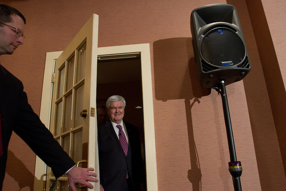 MEREDITH, NH - JANUARY 05: Republican presidential candidate and former House Speaker Newt Gingrich arrives to speak at a Tea Party town hall in Meredith, New Hampshire on January 05, 2012. After finishing 4th in the Iowa Caucus, Gingrich continued his campaign in New Hampshire for the upcoming primary. (Photo by Matthew Cavanaugh/Getty Images)..