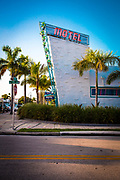 A Space Age, Miami Modern pylon and neon sign at the newly renovated Vagabond Motel on Miami's Biscayne Boulevard