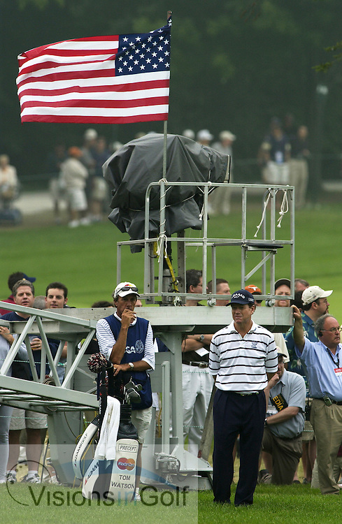 June 2003, US Open, Olympia Fields CC, Chicago. Bruce Edwards and Tom Watson on the 18th fairway.<br />Mandatory credit: Visions In Golf/Richard Castka