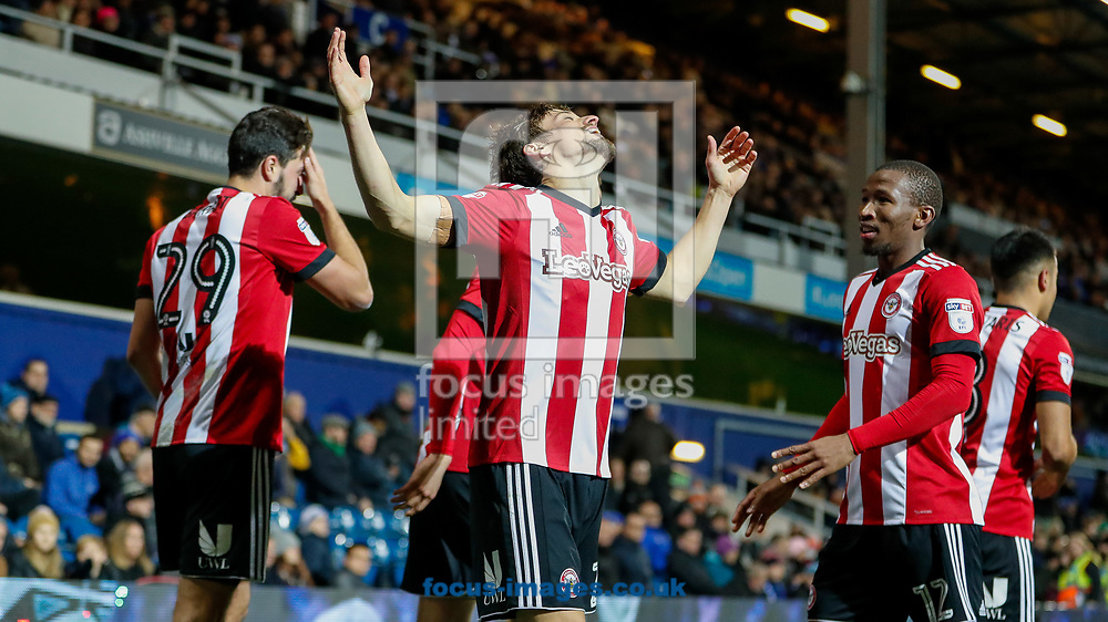 Lasse Vibe of Brentford celebrates scoring the opening goal during the Sky Bet Championship match between Queens Park Rangers and Brentford at the Loftus Road Stadium, London<br /> Picture by Mark D Fuller/Focus Images Ltd +44 7774 216216<br /> 27/11/2017