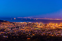 Twilight over Table Bay,  Cape Town, South Africa.