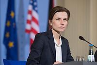 """16 MAR 2017, BERLIN/GERMANY:<br /> Friederike von Tiesenhausen, Pressesprecherin Bundesministerium der Finanzen, waehrend einer Pressekonferenz mit W olfgang S chaeuble, CDU, Bundesfinanzminister, und S teven T erner """"S teve"""" M nuchin, Fianzminister der Vereinigten Staaten von Amerika, USA, Bundesministerium der Finanzen<br /> IMAGE: 20170316-03-016<br /> KEYWORDS: Treasury secretary"""