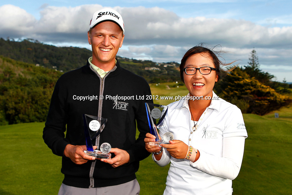 Winners Fraser Wilkin and Lydia Ko. The Charles Tour, ask metro Muriwai golf open. Muriwai Golf Course, Waitakere, New Zealand. Sunday 6 May 2012. Photo: www.photosport.co.nz