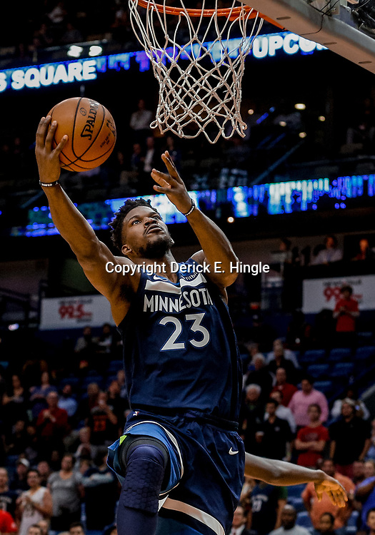 Nov 1, 2017; New Orleans, LA, USA; Minnesota Timberwolves guard Jimmy Butler (23) shoots against the New Orleans Pelicans during the first quarter of a game at the Smoothie King Center. Mandatory Credit: Derick E. Hingle-USA TODAY Sports