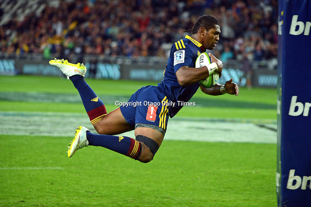 Highlander Waisake Naholo scores a try during the Super 15 Rugby match between Highlanders and the Stormers at the Forsyth Barr Stadium, Dunedin, New Zealand on Saturday night.PHOTO PETER MCINTOSH (OTAGO DAILY TIMES).