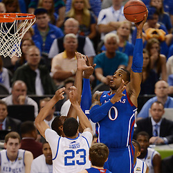 Apr 2, 2012; New Orleans, LA, USA; Kansas Jayhawks forward Thomas Robinson (0) shoots over Kentucky Wildcats forward Anthony Davis (23) during the first half in the finals of the 2012 NCAA men's basketball Final Four at the Mercedes-Benz Superdome. Mandatory Credit: Derick E. Hingle-US PRESSWIRE