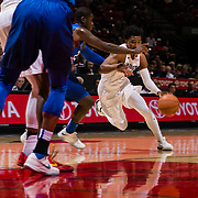 03 February 2018: The San Diego State Aztecs look to rebound after a couple losses against Air Force Saturday night. San Diego State Aztecs guard Devin Watson (0) drives the ball into the paint while being defended by Air Force Falcons guard Trevor Lyons (20) in the second half. The Aztecs beat the Falcons 81-50 at Viejas Arena.<br /> More game action at www.sdsuaztecphotos.com