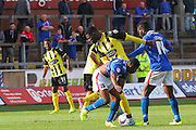 Ayo Obileye Gets heated during the Sky Bet League 2 match between Carlisle United and Dagenham and Redbridge at Brunton Park, Carlisle, England on 12 September 2015. Photo by Craig McAllister.
