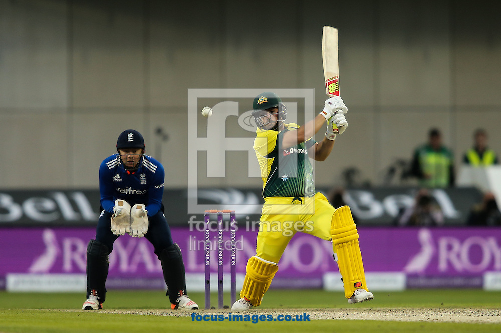 Aaron Finch of Australia (right) drives during the 3rd One Day International match at Old Trafford Cricket Ground, Stretford<br /> Picture by Andy Kearns/Focus Images Ltd 0781 864 4264<br /> 08/09/2015