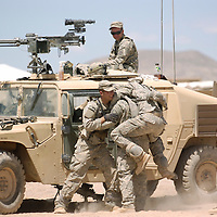 5-8-08--METRO--FORT IRWIN--TRAINING--Members of the U.S. Army's 167 Armor, 2nd Brigade Combat Team, 4th Infantry Division of Fort Carson, Colorado hone their unit's skills at the Army's National Training Center at Fort Irwin in California's Mojave Desert, May 7,8 and 9th, 2008. Eric Reed/Staff photographer