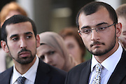 Mohamed Abdelgany (left) and Taher Herzallah, two of the ten Muslim students from the University of California, Irvine, guilty of disrupting a February 2010 speech at the university's campus by Michael Oren, Israeli ambassador to the United States. Orange County Superior Court Judge Peter Wilson sentenced each student to three years of probation, 56 hours of community service, and ordered each to pay $270 in fines.