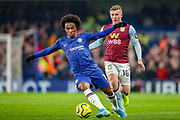 Chelsea midfielder Willian (10) during the Premier League match between Chelsea and Aston Villa at Stamford Bridge, London, England on 4 December 2019.
