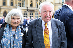 © Licensed to London News Pictures. 10/09/2019. London, UK. David Steel  and his wife Judith MacGregor departs from Westminster Abbey in London after attending <br />