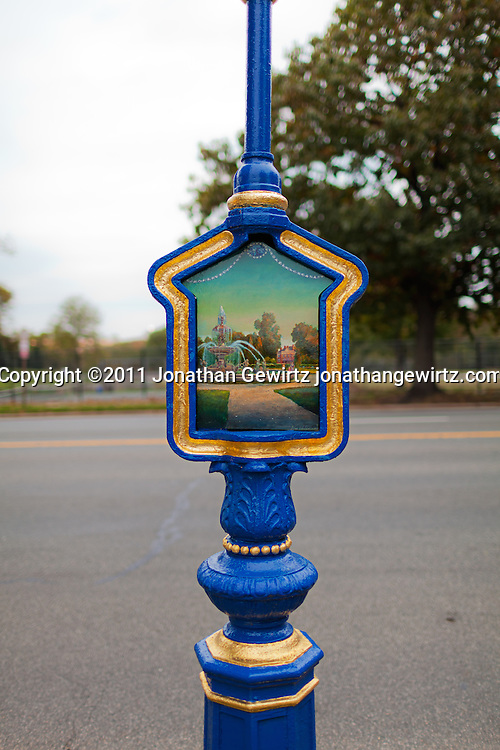 Washington, DC: Restored Wisconsin Avenue call box with painting installation by artist Peter Waddell. WATERMARKS WILL NOT APPEAR ON PRINTS OR LICENSED IMAGES.