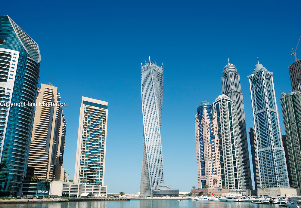 Many new apartment towers in Marina area of New Dubai district in United Arab Emirates
