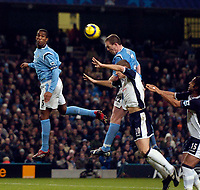 Photo: Jed Wee.<br /> Manchester City v Tottenham Hotspur. The Barclays Premiership. 04/01/2006.<br /> <br /> Manchester City's Richard Dunne risest highest to head the ball goalwards.