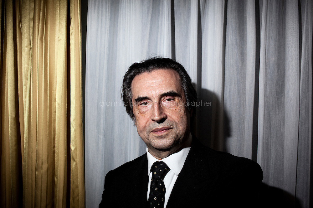 """ROME, ITALY - 12 MARCH 2013: Music director Riccardo Muti, 71, poses in his dressing room during the second interval of  """"I Due Foscari"""", an opera in three acts by Giuseppe Verdi, at the Teatro dell'Opera in Rome, Italy, on March 12, 2013... Riccardo Muti, Music Director of the Chicago Symphony Orchestra, has accepted the title of Honorary Director for Life of the Teatro dell'Opera in Rome...Gianni Cipriano for The New York Times"""