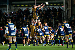 Ian Evans of Bristol Rugby wins a lineout - Rogan Thomson/JMP - 04/11/2016 - RUGBY UNION - Sixways Stadium - Worcester, England - Worcester Warriors v Bristol Rugby - The Anglo Welsh Cup.