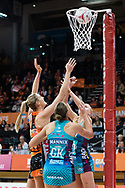 SYDNEY, NSW - JUNE 22: Caitlin Bassett of the Giants takes a shot during the round 9 Super Netball match between the Giants and the Vixens at Quaycentre on June 22, 2019 in Sydney, Australia. (Photo by Speed Media/Icon Sportswire)