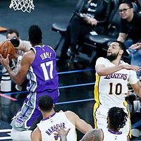 08 October 2017: Sacramento Kings guard Garrett Temple (17) goes for the reverse layup past Los Angeles Lakers guard Tyler Ennis (10) during the LA Lakers 75-69 victory over the Sacramento Kings, at the T-Mobile Arena, Las Vegas, Nevada, USA.
