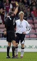 Photo: Daniel Hambury.<br />Northampton Town v Swansea City. Coca Cola League 1. 28/10/2006.<br />Swansea's Alan Tate is booked.