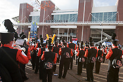 December 4, 2010; Corvallis, OR, USA;  The Oregon State Beavers marching band performs outside Reser Stadium before the game against the Oregon Ducks.