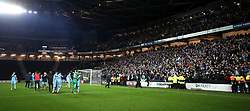 Coventry City players and fans celebrate after the final whistle of the Emirates FA Cup  Fourth Round match at  Stadium MK Milton Keynes.