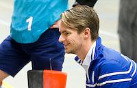 ARNHEM - Marijn Petermeijer , coach van HDM. De mannen van HDM tijdens de eerste dag van de zaalhockey competitie in de hoofdklasse, seizoen 2013/2014. FOTO KOEN SUYK