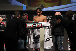 November 11, 2011; Santa Monica, CA; USA; UFC lightweight contender Ben Henderson weighs in for his upcoming fight against Clay Guida.  The two will meet on Saturday night in the co-feature at the Honda Center in Anaheim, CA.