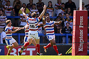 Rochdale Hornets prop Jovili Taira (15) scores a try on the stroke of half time and celebrates during the Kingstone Press Championship match between Rochdale Hornets and Bradford Bulls at Spotland, Rochdale, England on 18 June 2017. Photo by Simon Davies.