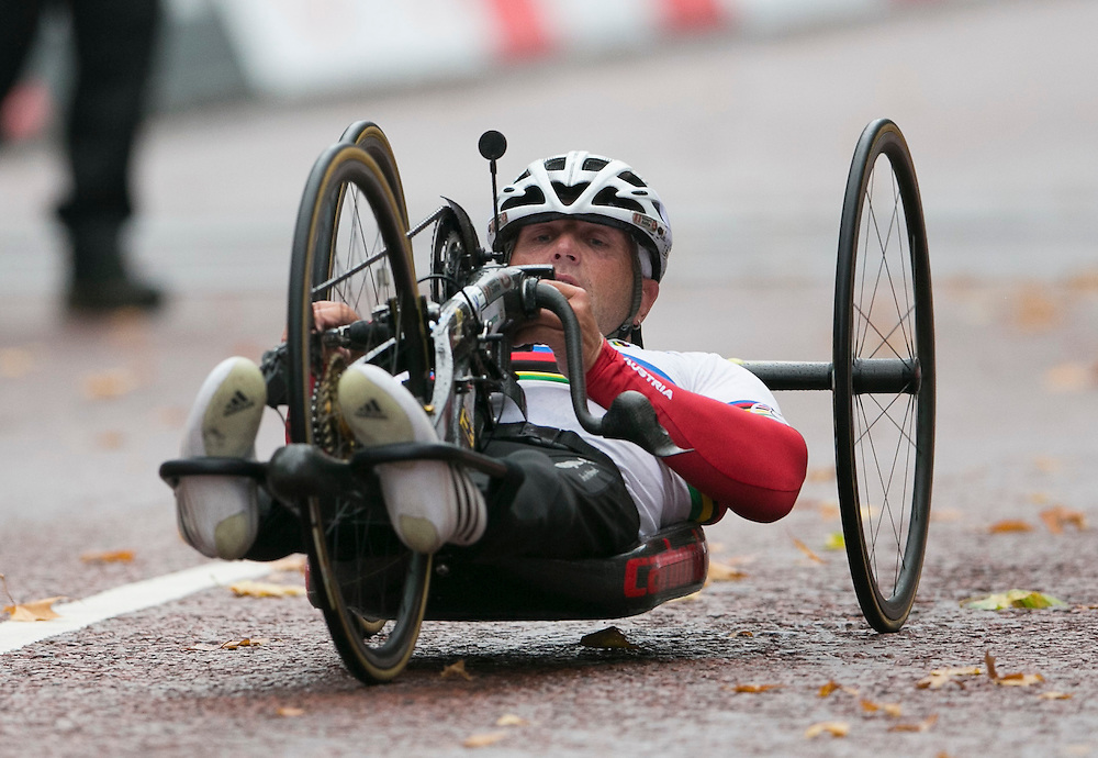 Walter Ablinger AUT wins Mens  Hand Cycle Classic<br /> Prudential RideLondon, the world's greatest festival of cycling, involving 70,000+ cyclists – from Olympic champions to a free family fun ride - riding in five events over closed roads in London and Surrey over the weekend of 9th and 10th August. <br /> <br /> Photo: SCOTT HEAVEY for Prudential RideLondon<br /> <br /> See www.PrudentialRideLondon.co.uk for more.<br /> <br /> For further information: Penny Dain 07799 170433<br /> pennyd@ridelondon.co.uk