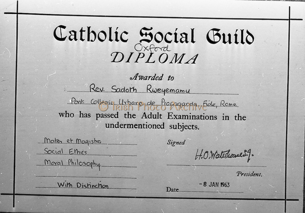 23/06/1965<br /> 06/23/1965<br /> 23 June 1965<br /> Copy of certificate for Rev. Rweyemamu Sadoth, Cypress Grove, Templeogue, Dublin.
