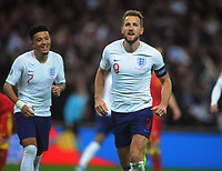 Football - 2019 / 2020 UEFA European Championships Qualifier - Group A: England vs. Montenegro<br /> <br /> Harry Kane of England celebrates scoring his third goal, at Wembley Stadium.<br /> <br /> This game is England men's 1,000 international match.<br /> <br /> COLORSPORT/ANDREW COWIE