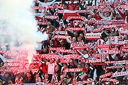 12.09.2007, Olympic Stadium, Helsinki, Finland..UEFA European Championship 2008.Group A Qualifying Match Finland v Poland.Poland fans with their smokes and scarfs.©Juha Tamminen.....ARK:k