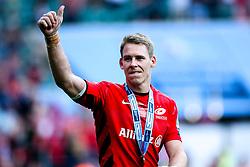 David Strettle of Saracens celebrates after winning in the Premiership Rugby Final against Exeter Chiefs - Mandatory by-line: Robbie Stephenson/JMP - 01/06/2019 - RUGBY - Twickenham Stadium - London, England - Exeter Chiefs v Saracens - Gallagher Premiership Rugby Final