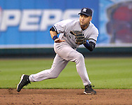 July 26, 2007 - Kansas City, MO..New York Yankees shortstop Derek Jeter moves to his left for a ground ball in the third inning against the Kansas City Royals at Kauffman Stadium in Kansas City, Missouri on July 26, 2007...MLB:  The Royals defeated the Yankees 7-0.  .Photo by Peter G. Aiken/Cal Sport Media