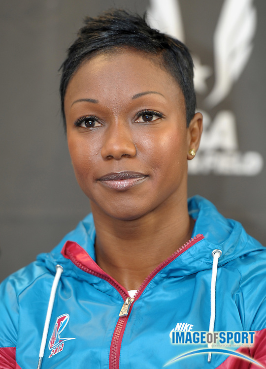 Apr 27, 2012; Philadelphia, PA, USA; Carmelita Jeter at the USA vs The World press conference at the 118th Penn Relays at George A. Weiss Atrium at Franklin Field.