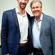 Microsoft Ability Summit 2019. David Porter and Michael Phelps (Olympic Champion Swimmer). Photo by Alabastro Photography.