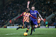 Jordy Hiwula (Bradford City) shoots but Dillon Phillips (Charlton Athletic) makes the save during the EFL Sky Bet League 1 match between Bradford City and Charlton Athletic at the Coral Windows Stadium, Bradford, England on 10 December 2016. Photo by Mark P Doherty.