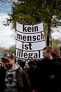 Hamburg | 01 May 2015<br /> <br /> 4000 protesters take part in the &quot;Never Mind The Papers&quot; rally for migrants and refugees in the german city of Hamburg. Picture shows a banner wich reads &quot;Kein Mensch ist illegal&quot;.<br /> <br /> &copy;peter-juelich.com<br /> <br /> [Foto honorarpflichtig | Fees Apply | No Model Release | No Property Release]