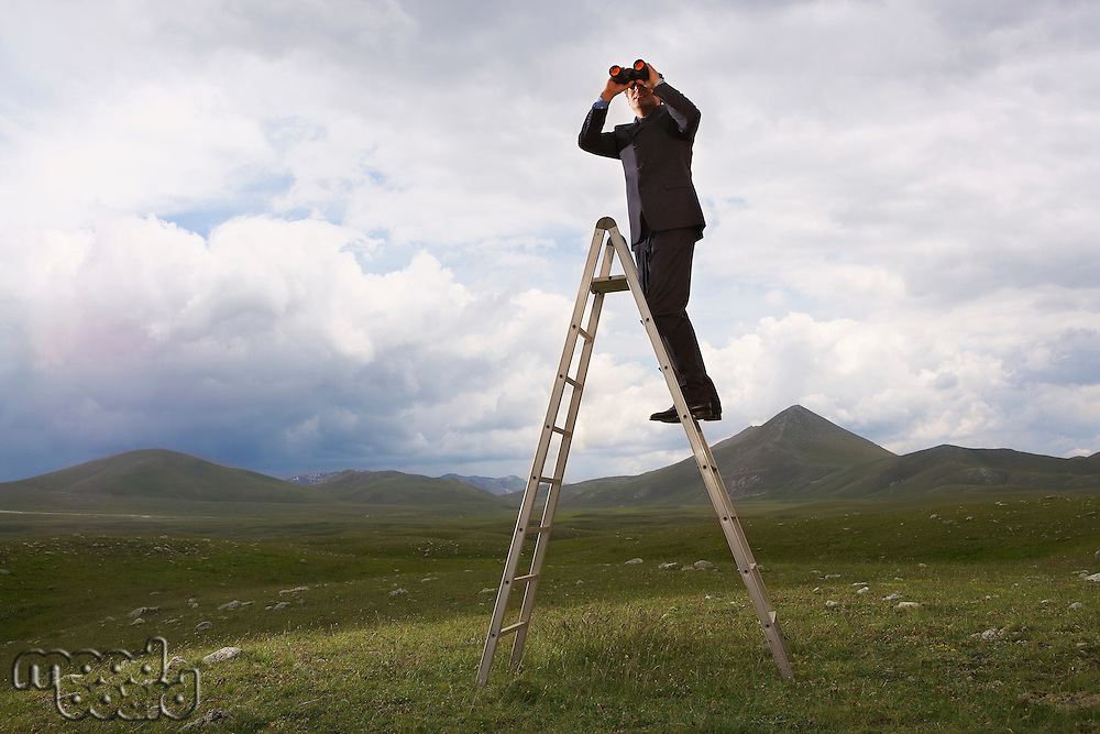 Businessman in mountain field on ladder Looking Through Binoculars low angle view