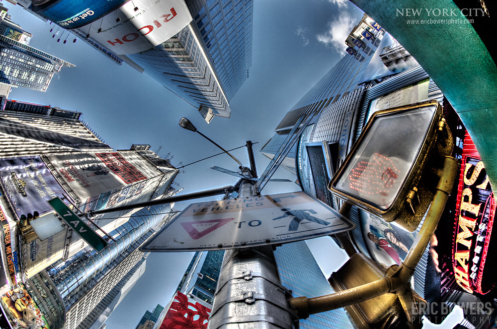 Fisheye-look at Times Square in the daytime