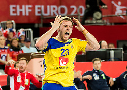 Albin Lagergren of Sweden reacts during handball match between National teams of Sweden and Norway on Day 7 in Main Round of Men's EHF EURO 2018, on January 24, 2018 in Arena Zagreb, Zagreb, Croatia.  Photo by Vid Ponikvar / Sportida